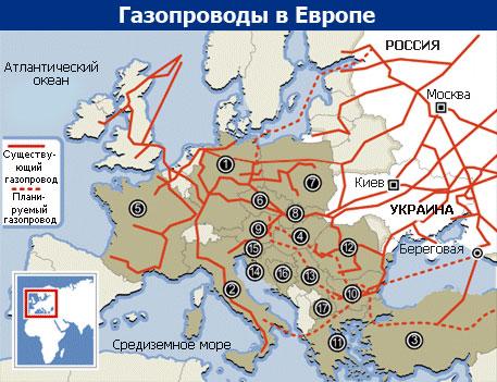 """Трохи менше  """"блакитного палива """" з Росії отримують Греція і Хорватія (93,2% і 87,5... схему європейських газопроводів..."""