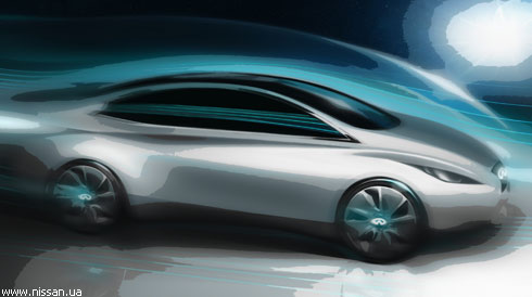 """""""Infiniti"""" показала эскиз своего первого электромобиля"""